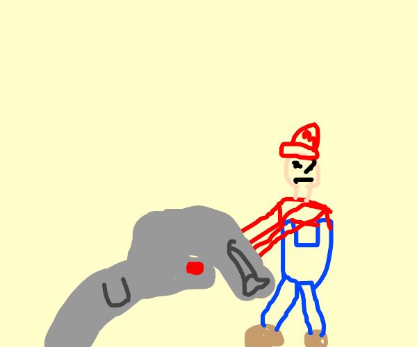 Mecha Dolphin eating fish from Mario