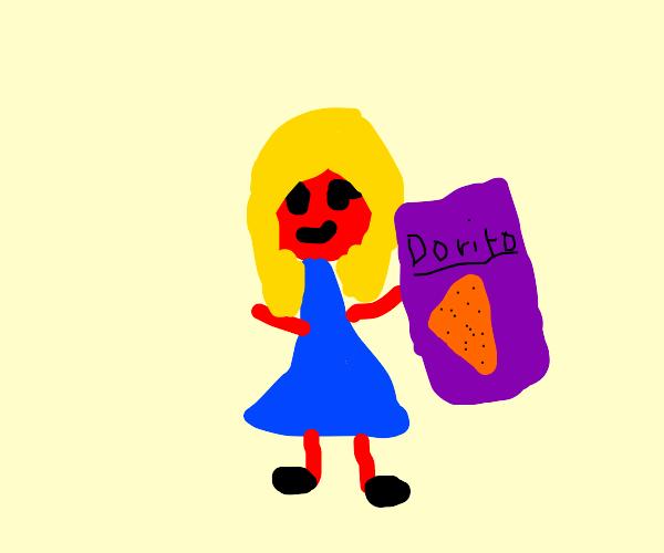 red lady holding giant doritos