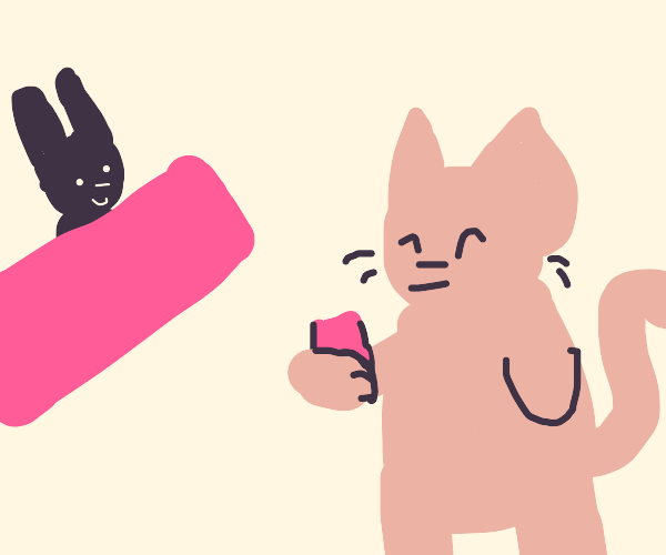 kitty orders a strawberry milk from bunnista