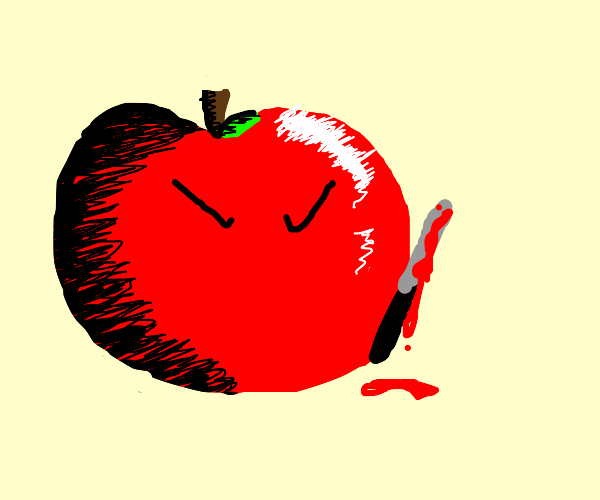 Yandere apple holding bloody knife