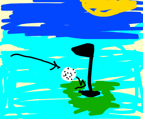 Impossible golf hole surrounded by water