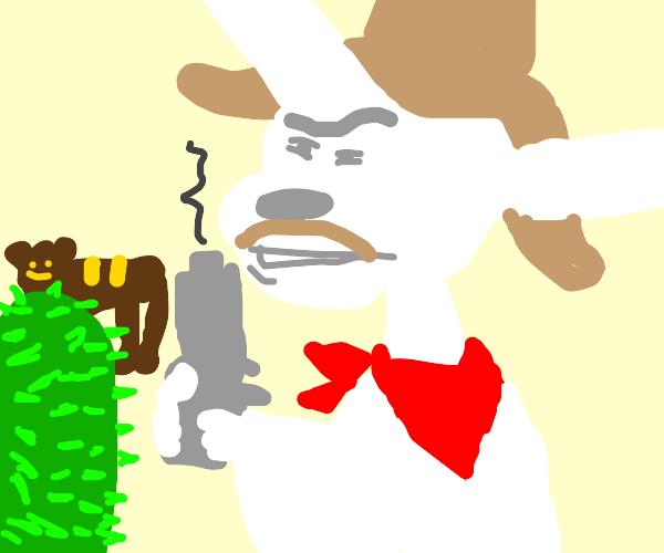 White donkey cowboy