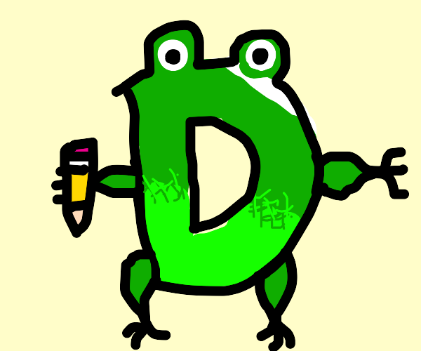 Frog shaped like a D holding a short pencil