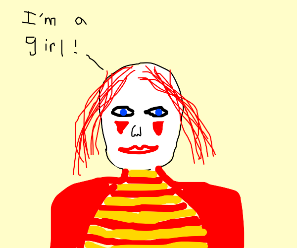 Clown girl with blue eyes and red hair