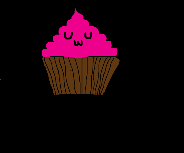Pink Chocolate Cupcake happily smiles at a we