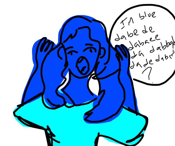 Lady can't believe she's blue