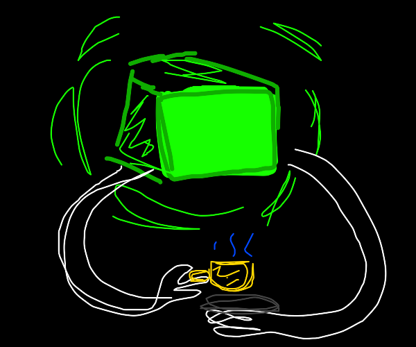 Green box enjoying a cup of tea in the void.