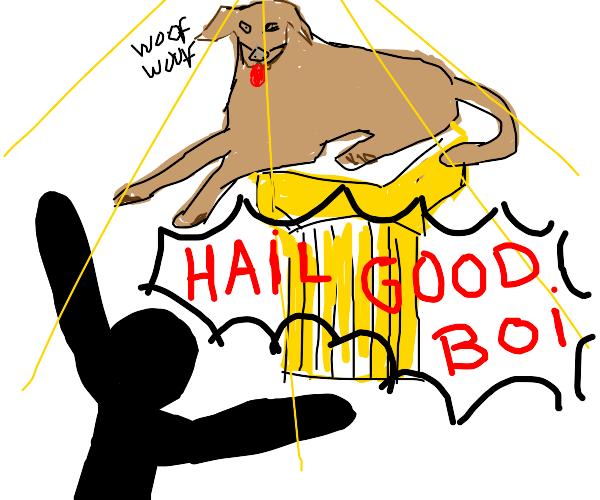 stick person prasing dog