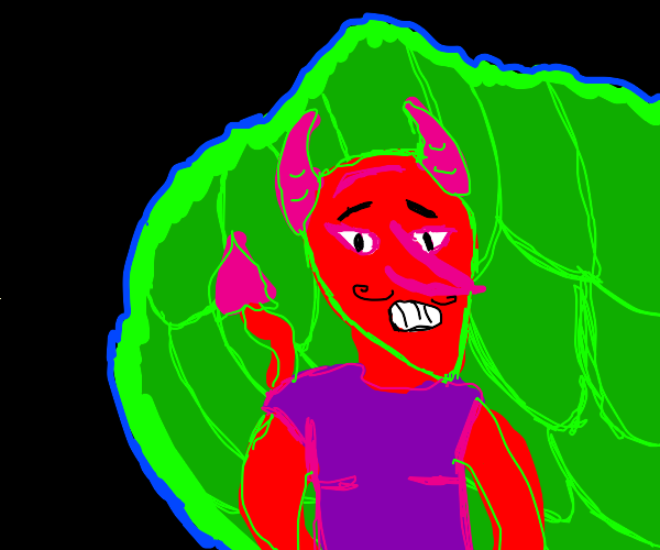devil hiding behind a bush