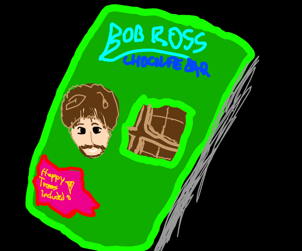 Bob Ross chocolate bar (happy trees included)