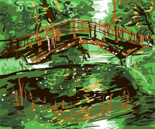 Bridge going over pond
