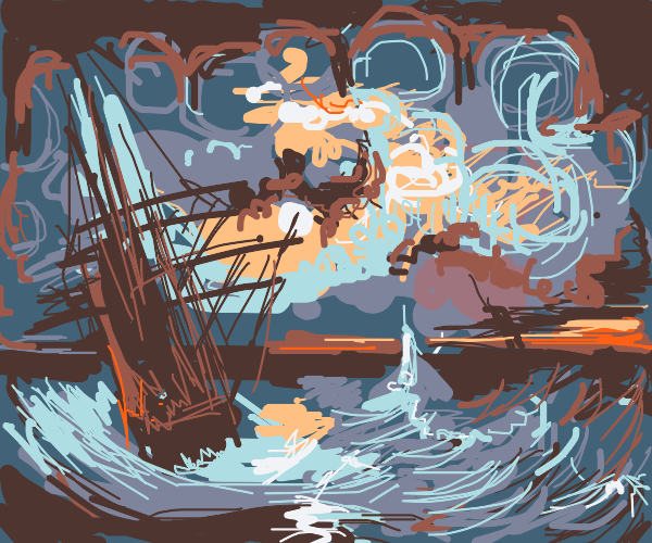 Tallship in rough Van Gogh seas