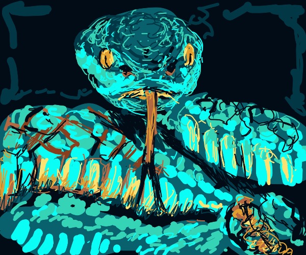 Turquoise snake hisses in a cave