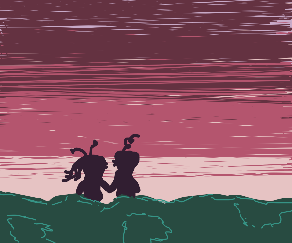 Sunset on an alien planet
