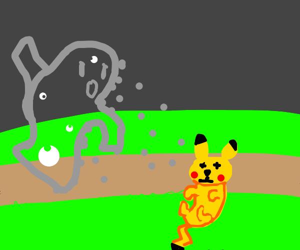 ghast vs. kaminari/pikachu