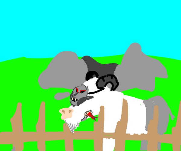 Goat dressed up as krampus