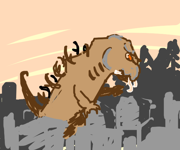 godzilla with antler spines eating a man