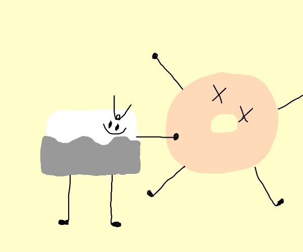 cream cheese beats up a bagel