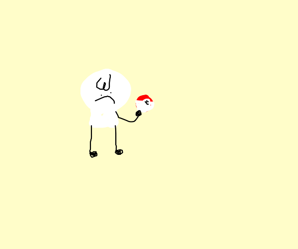 very angry person holding pokeball