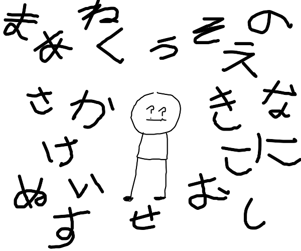 Confused guy surrounded by Japanese handwriti