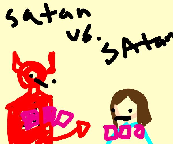 Satan and Satan playing cards