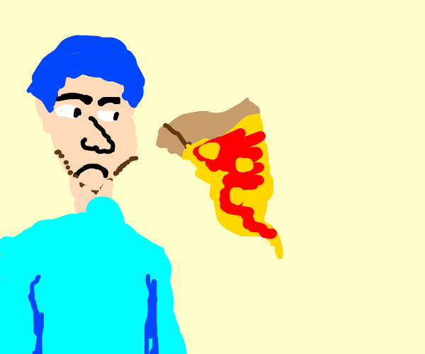 Blue haired guy cant handle pineapple on pizz