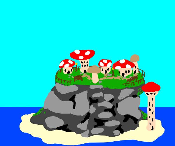 mushroom town on an island at sea