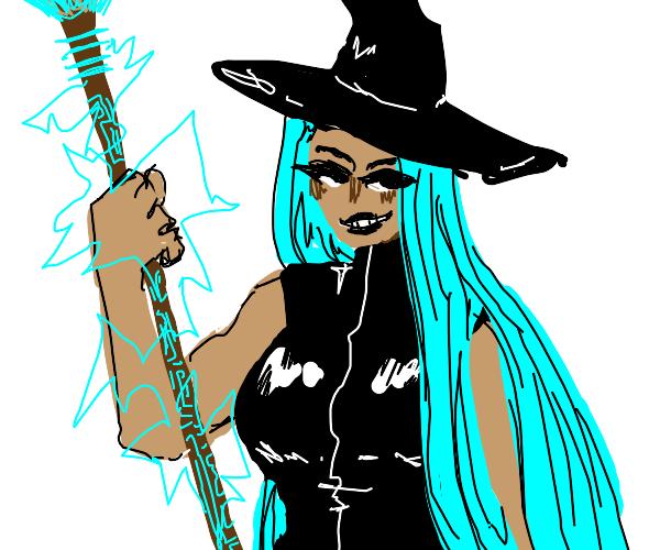witch with odd futuristic broom