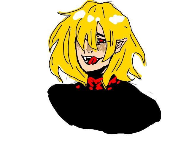 Blonde Vampire Licks Lips Menacingly