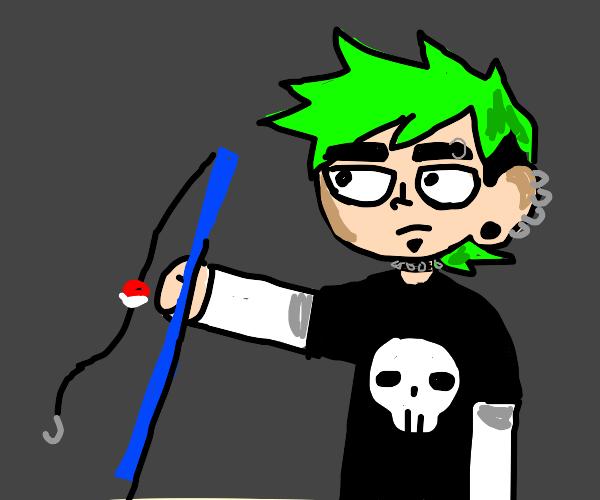 green mohawk fella, holding blue fishing rod