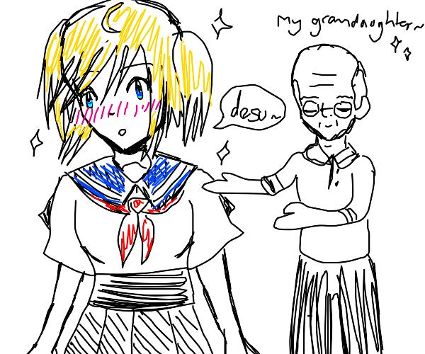 Grandpa shows his anime grandaughter
