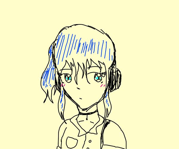 Blue-haired Anime Girl listens to Headphones