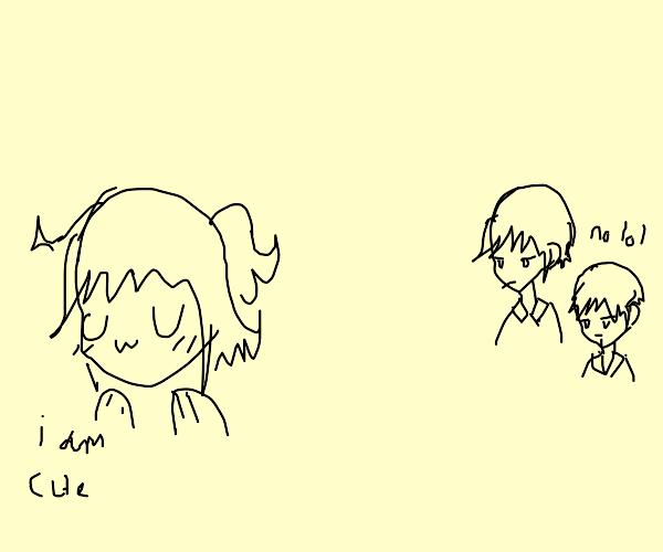 Anime girl thinks she is cute: boys disagree
