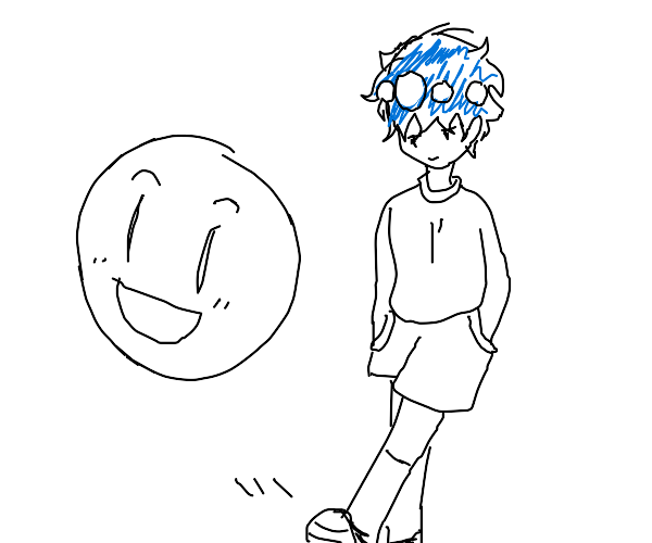 Blue haired person kicks a happy ball