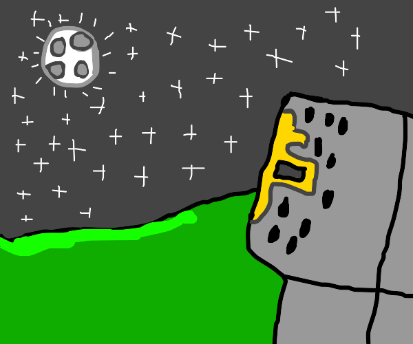 Knight looking at the night sky