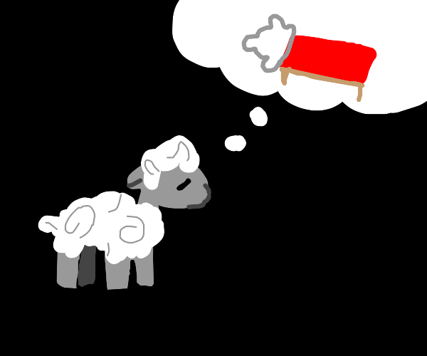 a sheep thinking about a bed