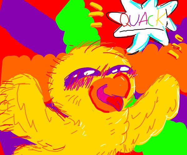 Happy duck goes quack