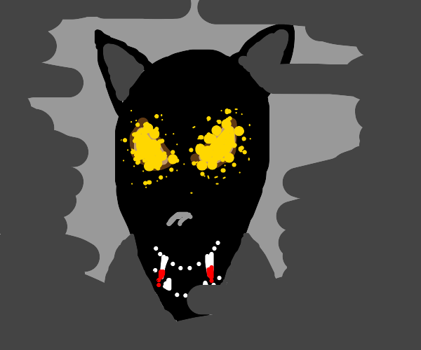 scary black wolf with yellow glowing eyes
