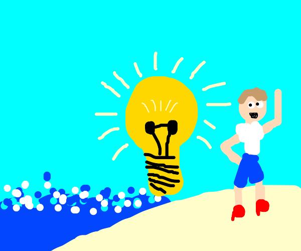 Man in heels on beach next to giant lightbulb