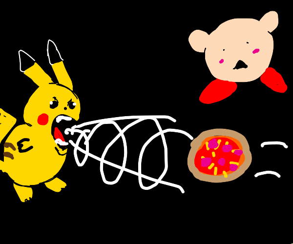 pikachu sucking pizza into its mouth