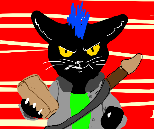 Threatening musical cat with brick