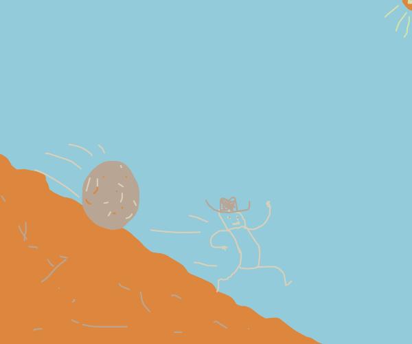 boulder falling down a hill