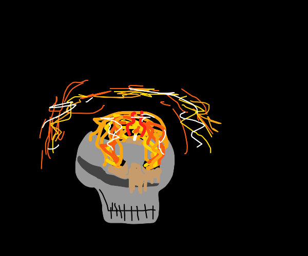 Skull with candle in it