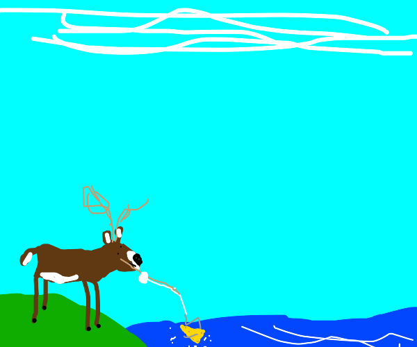 Deer tries fishing with cheese