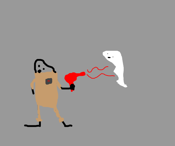 Blowing away ghost with hairdryer