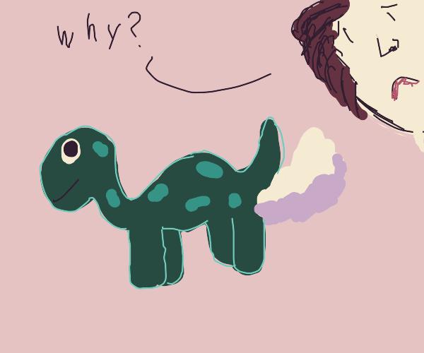 man disturbed at a farting dinosaur