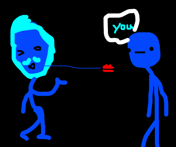 Kfc man blows you a kiss but everythings blue