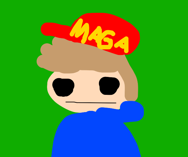 Someone from Eddsworld with hat saying maga?
