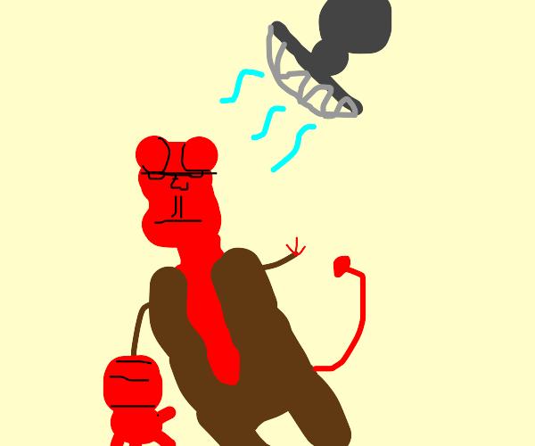 hellboy sits under electric fans
