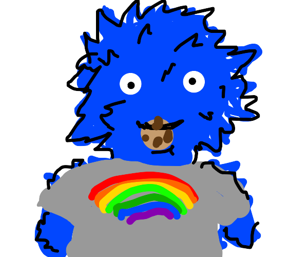 gay cookie monster but he has no color